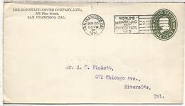 ESTADOS UNIDOS USA 1914 ENTERO POSTAL MOUNTAN COPPER COMPANY COBRE MINERAL MINNING MAT SAN FRANCISO PANAMA EXPOSITION - Minerales