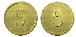 00261 GETTONE JETON TOKEN GAME OR CHECK TOKEN 5 IN VALUE - United Kingdom