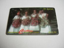 TELECARTE ST LUCIA WOMEN OF ST LUCIA IN THEIR NATIONAL WEAR. 96CSLA017950 - Saint Lucia
