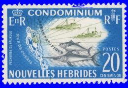 Nouvelles-Hébrides 1965 ~ YT 216** - Pêche Et Carte - Leyenda Francesa