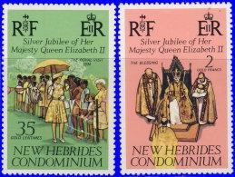 Nouvelles-Hébrides 1977 ~ YT 447/49** - Accession Trône Elizabeth II - Nuevos