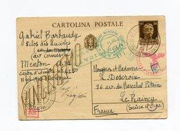 !!! PRIX FIXE ENTIER ITALIEN DE MENTON DE 1943 POUR LE RAINCY (MENTON AYANT ETE ANNEXEE EN 1940) DOUBLE CENSURE - WW II