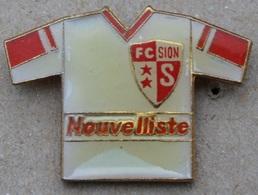 MAILLOT DU FC SION - FOOTBALL - FOOT - JOURNAL LE NOUVELLISTE - SPONSOR -   VALAIS - SUISSE  -             (20) - Football