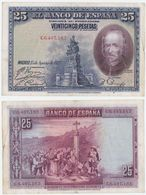 Spain P 74 B - 25 Pesetas 15.8.1928 - VF - [ 1] …-1931 : Eerste Biljeten (Banco De España)