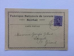 GENAPPE -NOIRHAT «FABRIQUE NATIONALE DE LEVURE (Courrier Commande Aug.De BROUX ,  (1921) - Genappe