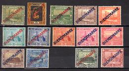 1922-44   Sarre, Timbres De Service, Se 1 / 15*, (pas 13) Cote 97 €, - Service