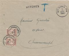 ZZ823 - Lettre Non Affranchie GRIFFE D' Origine HARCHIES Via MONS 1936 - Taxée 2 X 70 C à QUEVAUCAMPS - Poststempel