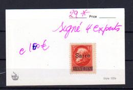 1920   Sarre, Timbre De Bavière Surchargé, 29* Signé Par 4 Experts, Cote 160 €, - 1920-35 Société Des Nations