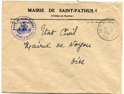 OISE De SAINT PATHUS     Env. à En Tête De La Mairie  Dateur A 6 De LE PLESSIS BELLEVILLE  Du 11/07/1951 - 1921-1960: Periodo Moderno