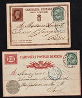 ITALIE: Lot De 2 Cartes (utilisées Rarement Pour La France) De 10c Avec Complément De 5c Du Roi Victor Emmanuel II...... - Marcophilie