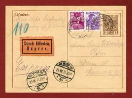 Rohrpost Pneumatic Postkarte Zusatzfrankatur Entier Express Eilboten - Télégraphe