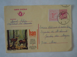 Publibel  2601 F Han Sur Lesse Réserve Naturelle D'animaux Sauvages Grottes Belgique Cerf Circulée 1975 Namur - Stamped Stationery