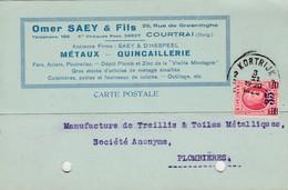 Courtrai , Carte Publicité , Omer Saey & Fils , Métaux -quicaillerie ,Houyoux - Kortrijk