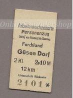 Pappfahrkarte DR -->  Ferchland - Güsen Dorf (Arbeiterwochen) - Bahn