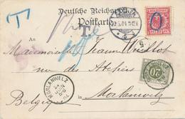 ZZ825 - Carte-Vue COBLENZ TP Allemagne Hors-Cours ( O Au Crayon Bleu) - AACHEN 1904 Vers MORLANWELZ - Taxée 20 C - Germany