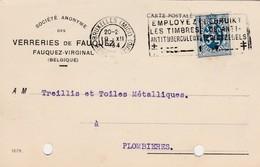 Fauquez - Virginal  , Carte Publicité , Verreries De Fauquez - Ittre