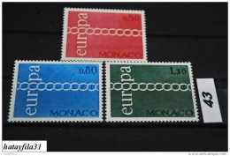 Monaco   1971   CEPT    Mi.  1014 - 1016   ** Postfrisch - Europa-CEPT