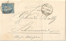 Faltbrief  Luzern - Bally, Schönenwerd          1867 - 1862-1881 Helvetia Seduta (dentellati)