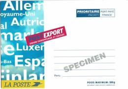 LCA11 - PAP POSTEXPORT UE ET SUISSE 100g SURCHARGE SPECIMEN  CLAIRE - Specimen