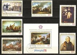Roumanie 1976 - Révolution Américaine - Série Complète° YT 2943/48 + BF 124 - Jefferson - Washington - Valley Forge - 1948-.... Républiques