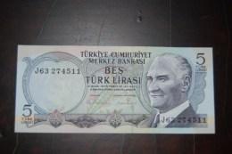 1976 Türkei 5 Lira  / 6. Emisyon 2. Tertip Serie : J / UNC - Turquie