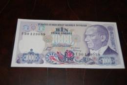 1988 Türkei 1000 Lira  / 7. Emisyon 2. Tertip Serie : F  / UNC - Turquie