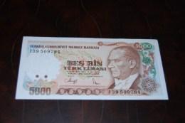 1990 Türkei 5000 Lira  / 7. Emisyon 4. Tertip Serie : I  / UNC - Turkey