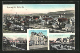 AK St. Egidien / Sa., Totalansicht, Viadukt, Post, Kirche - Deutschland