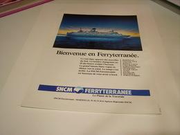 ANCIENNE PUBLICITE SNCM FERRYTERRANEE 1988 - Bateaux