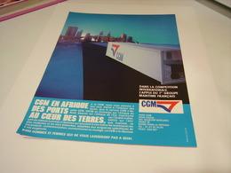 ANCIENNE PUBLICITE  DES COMPAGNIES GENERALE MARITIME 1989 - Bateaux