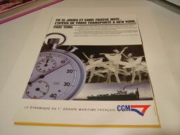 ANCIENNE PUBLICITE  DES COMPAGNIES GENERALE MARITIME 1985 - Bateaux