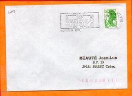 """NORD, Maubeuge, Flamme SCOTEM N° 10119, """"les Inattendus"""" 29 Juin-9juillet 1989 - Oblitérations Mécaniques (flammes)"""