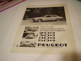 ANCIENNE PUBLICITE  VOITURE 204-304-404-504  PEUGEOT  1969 - Cars