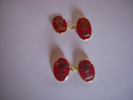 BOUTONS DE MANCHETTES - SPORT - RUGBY - WRU - WELSH RUGBY UNION - PAYS DE GALLES - Cuff Links & Studs