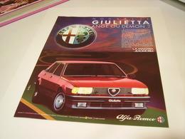 ANCIENNE PUBLICITE VOITURE  ALFA ROMEO GIULIETTA - Cars