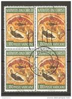 VATICANO - 1967 NATALE £.180 Quartina Usata - Vatikan