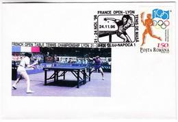M315 Français Ouvert Tennis De Table Championnat Lyon 1996 French Open Table Tennis Championship Romania Postmark - Tenis De Mesa