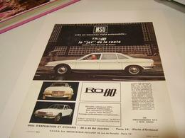 ANCIENNE PUBLICITE VOITURE RO 80 DE NSU 1969 - Cars
