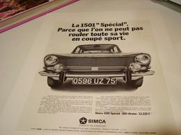 ANCIENNE AFFICHE  PUBLICITE VOITURE 1501 DE SIMCA 1969 - Cars