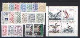 Estonia 1992 Annata Completa / Complete Year Set **/MNH VF - Estonia