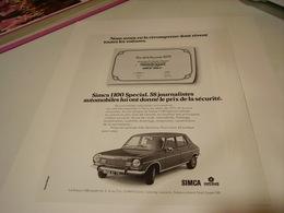 ANCIENNE PUBLICITE VOITURE  SIMCA 1100 SPECIAL  1972 - Cars