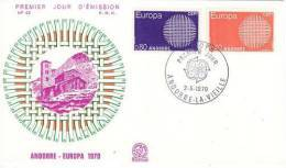 FRENCH ANDORRA  1970 EUROPA CEPT FDC - Europa-CEPT
