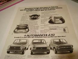 ANCIENNE PUBLICITE VOITURE AUTOBIANCHI  A112 1980 - Cars