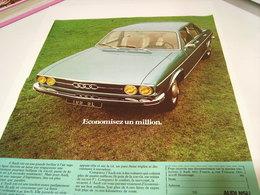 ANCIENNE PUBLICITE AFFICHE VOITURE AUDI 100 GL  1972 - Cars