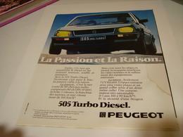 PUBLICITE AFFICHE VOITURE PEUGEOT 505 STI 1982 - Cars