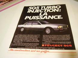 ANCIENNE PUBLICITE VOITURE 505 TURBO  DE PEUGEOT 1984 - Cars