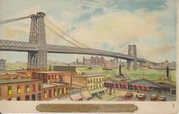 ETATS UNIS - NEW YORK - CARTE A SYSTEME - WILLIAMSBURG BRIDGE - (DEVANT UNE LUMIERE LES FENETRES SONT ECLAIREES) - Ponts & Tunnels