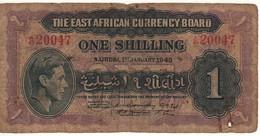 """EAST  AFRICA   1 Shilling    """"King George VI""""   P27  Dated 1.1.1943 - Billets"""