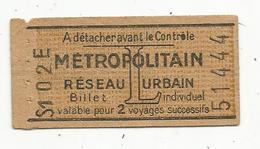 Billet De METROPOLITAIN , Réseau Urbain ,L , 2 Voyages Successifs, Publicité MP 8 Place De La Madeleine, 2 Scans - Subway
