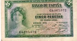Spain P.85 5 Pesetas 1935 Xf - [ 2] 1931-1936 : Repubblica